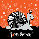 Happy Birthday snail smiling Stock Photography