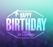 Happy birthday stamp aqua and purple background Royalty Free Stock Photography