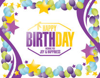 Happy birthday stamp balloons border Royalty Free Stock Images