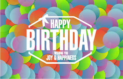 Happy birthday stamp color dots Royalty Free Stock Photos