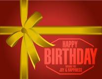 Happy birthday stamp gift illustration Stock Photo