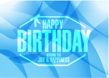 Happy birthday stamp sign blue background Royalty Free Stock Photos
