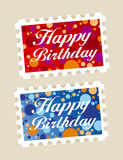 Happy birthday stamps Royalty Free Stock Images
