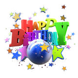 Happy Birthday stars. 3D rendering of a Happy Birthday greeting message with stars Stock Photography