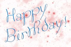 Happy Birthday stars. Illustration representing gift greeting cart composed of light blue inscription `Happy Birthday!` and white sky covered by twinkling royalty free illustration