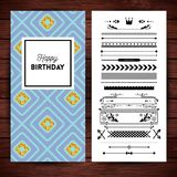 Happy birthday stationery with borders and icons. Happy birthday stationery with place holder text, borders and icons over simulated wooden background vector illustration