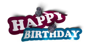 Happy birthday sticker. Over a white background with a  pushpin Royalty Free Stock Image