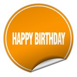 Happy birthday sticker. Happy birthday round sticker isolated on wite background. happy birthday royalty free illustration