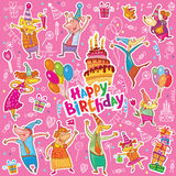 Happy birthday stickers Royalty Free Stock Photo