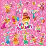 Happy birthday stickers royalty free illustration