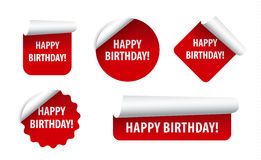 Happy birthday stickers Royalty Free Stock Photography