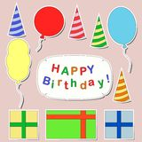 Happy birthday stickers set Stock Photos
