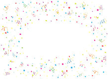 Happy Birthday streamer and confetti on white background. Happy Birthday background with multicolored streamers and confetti, illustration Stock Images