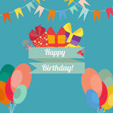 Happy birthday in style flat Stock Images