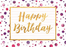 Happy Birthday. Stylish Happy Birthday card with gold effect and watercolor Royalty Free Stock Photos