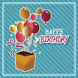 Happy birthday surprise box  with balloons isolated icon design. Vector illustration  graphic Royalty Free Stock Photography