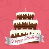 Happy birthday sweet cake candle. Illustration eps 10 Stock Photography