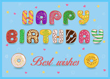 Happy birthday.  Sweet colorful Donuts font Royalty Free Stock Images