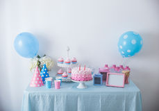 Happy birthday sweet corner. Portrait of happy birthday concept of table with full of sweet candy and cake Stock Photo