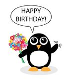 Happy birthday. A sweet little penguin with flowers greeting celebration Royalty Free Stock Photography