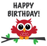 Happy birthday sweet owl Royalty Free Stock Image