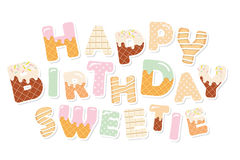 Happy birthday sweetie. Sweet letters. Paper cutout stickers. Vector Stock Photography