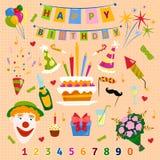 Happy Birthday symbols vector. Happy Birthday background with flat icons set, vector illustration. Festive entertainment confetti ribbon celebration design Stock Images