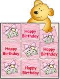 Happy birthday with teddy bear. Illustration for female birthday with teddy bear Stock Photo