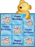 Happy birthday with teddy bear. Illustration for male birthday with teddy bear Stock Photo