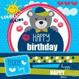 Happy birthday teddy  illustration Royalty Free Stock Photo