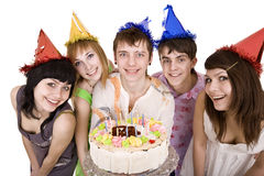 Happy birthday of  teen group with cake. Stock Photo
