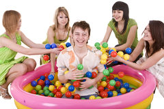 Happy birthday of teenager with friend. Stock Photo
