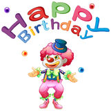 A happy birthday template with a clown Stock Image