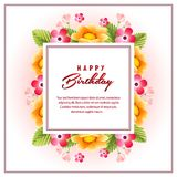 Happy birthday template with cute flower. Additional file in eps 10 format Royalty Free Stock Photos