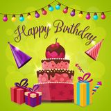 Happy Birthday Template. With gift boxes and party hats cake and lights on green background vector illustration Stock Image