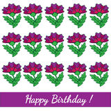 Happy Birthday template greeting card with colorful flower Royalty Free Stock Image