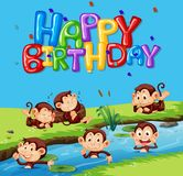 Happy birthday template with monkey. Illustration royalty free illustration