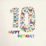 Happy birthday 10 ten years flower decoration. Happy Birthday10 ten years design with number made of colorful spring flowers and animals on paper texture Royalty Free Stock Photography