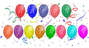 Happy Birthday text on balloons. Happy Birthday text on colorful balloons for greeting card Stock Images