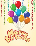 Happy birthday Text baloons ribbons pastel background.  Stock Images