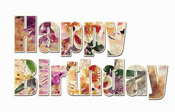 Happy Birthday text in colorful watercolor. Happy Birthday text filled with colorful watercolor patterns Royalty Free Stock Image