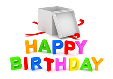 Happy Birthday Text with Gift Box on white backgro Stock Photo