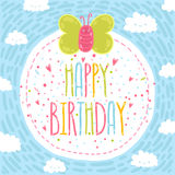 Happy birthday text label with butterfly. Royalty Free Stock Photos