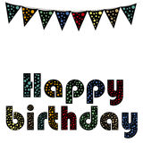 Happy birthday. A happy birthday text with a lot of colors in a white background royalty free illustration
