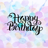 Happy Birthday Text over Abstract Watercolor Splashes. Happy Birthday Text over Watercolor Splashes. Vector Illustration of Watercolour Abstract Background Royalty Free Stock Photo