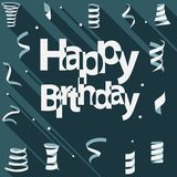 Happy Birthday text with ribbon and confetti flat design Stock Image