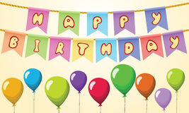 Happy birthday Text on rope with balloons.  Royalty Free Stock Photos