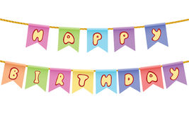 Happy birthday Text on rope isolated on white background Royalty Free Stock Photos