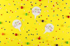 Birthday party kit with copy space. royalty free stock photo