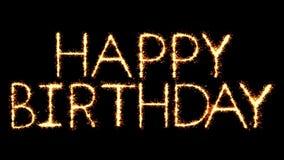 Happy Birthday Text Sparkler Glitter Sparks Firework Loop Animation
